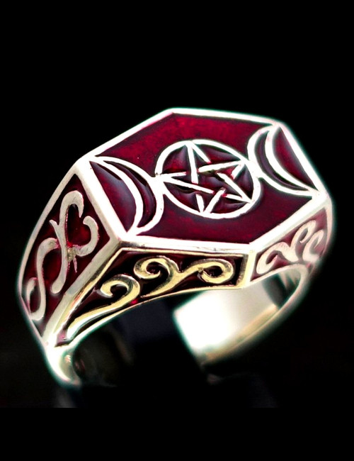 Sterling silver Wicca ring Triple Moon Pentagram Celtic Pagan symbol Occult Star with Red enamel
