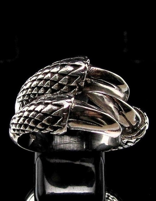 Sterling silver ring Three Talon Dragon Claw high polished and antiqued 925 silver