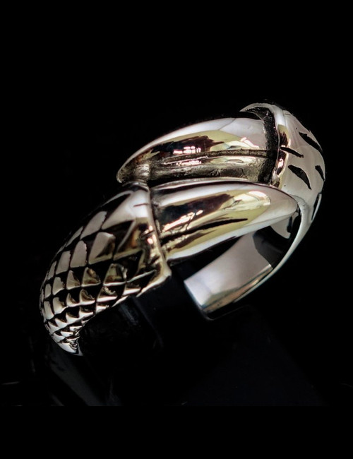 Sterling silver ring Two Talon Dragon Claw high polished and antiqued 925 silver