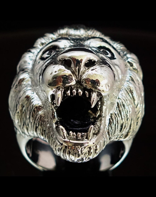 Sterling silver Animal ring Lion head high polished and antiqued 925 silver