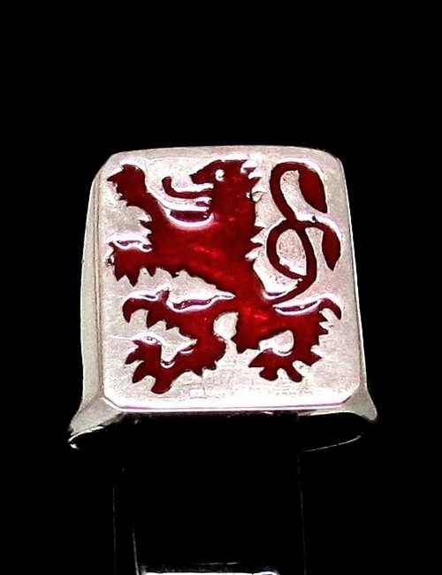 Sterling silver men's Flag ring Scottish Lion Scotland with Red enamel high polished 925 silver