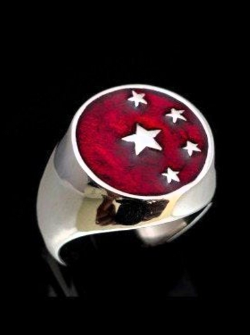 Sterling silver Chinese Flag ring China 5 Stars on Red enamel high polished 925 silver