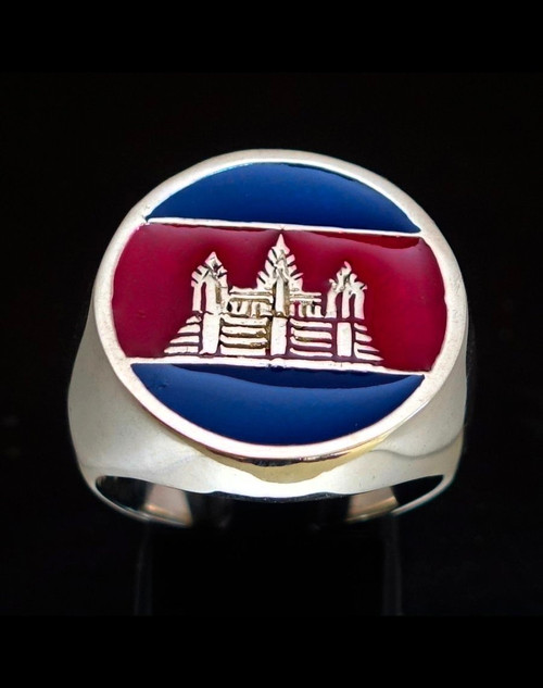 Sterling silver ring Angkor Wat Cambodia with Red & Blue enamel high polished 925 silver