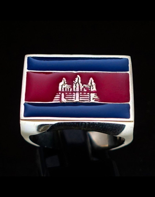Sterling silver Khmer Flag ring Angkor Wat Cambodia with Red & Blue enamel high polished 925 silver