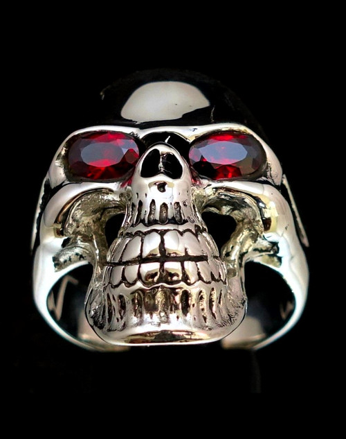 Sterling silver men's ring Grinning Phantom Skull with 2 Fiery Red CZ Eyes high polished 925 silver