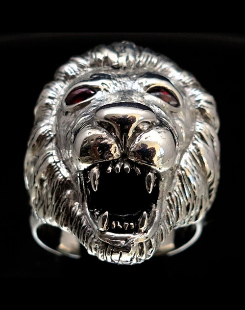 Sterling silver men's Animal ring Roaring Lion with 2 Red CZ Eyes 925 silver
