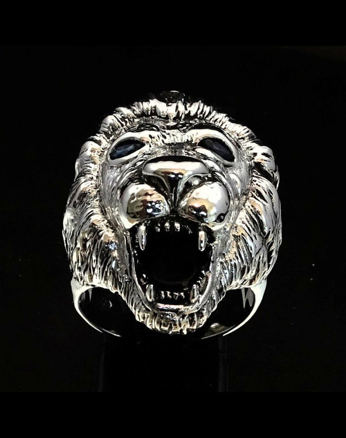 Big Sterling silver men's Animal ring Roaring Lion with 2 Blue Sapphire Eyes 925 silver