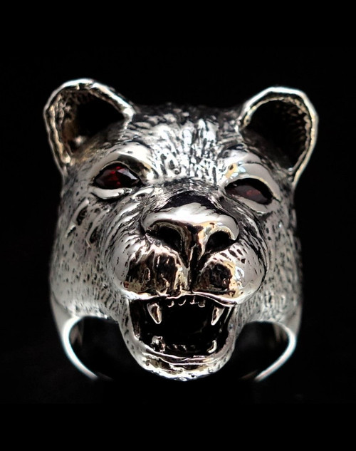 Sterling silver ring Lioness with 2 Red CZ Eyes high polished and antiqued 925 silver