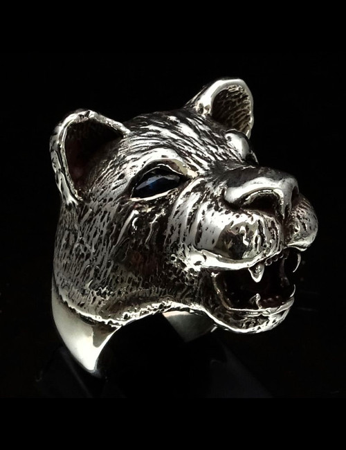 Sterling silver Animal ring Lioness with Two Blue Sapphire Eyes high polished 925 silver
