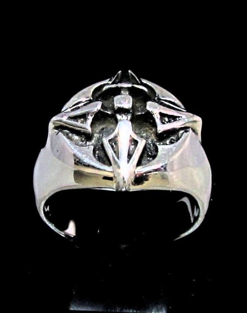 Sterling silver Christian symbol ring Cross Barbee Heraldry high polished and antiqued 925 silver