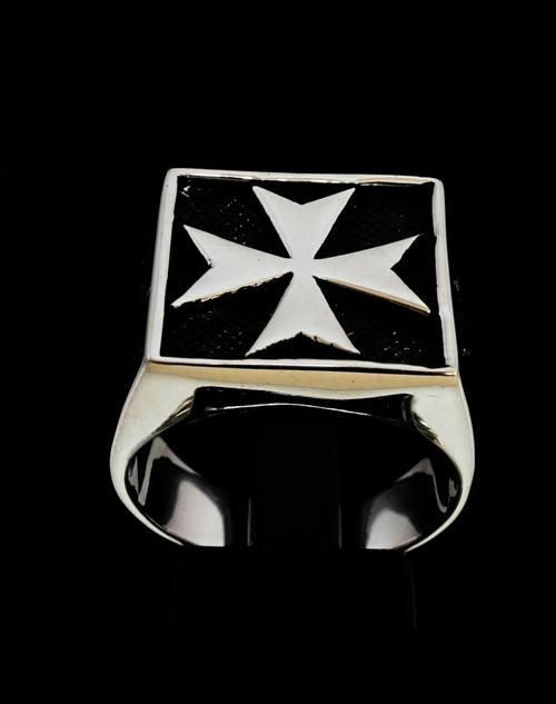 Sterling silver Medieval symbol ring Maltese Cross Malta Crusaders high polished and antiqued 925 silver
