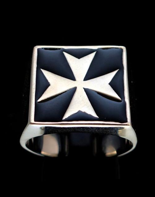 Sterling silver ring Maltese Cross Malta Crusaders with Black enamel high polished 925 silver