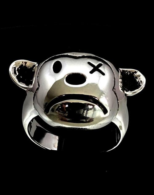 Sterling silver men's Biker ring Sad Teddy Bear high polished and antiqued 925 silver