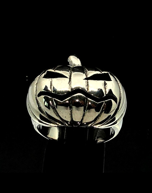 Sterling silver Halloween ring Moody Pumpkin high polished and antiqued 925 silver men's ring