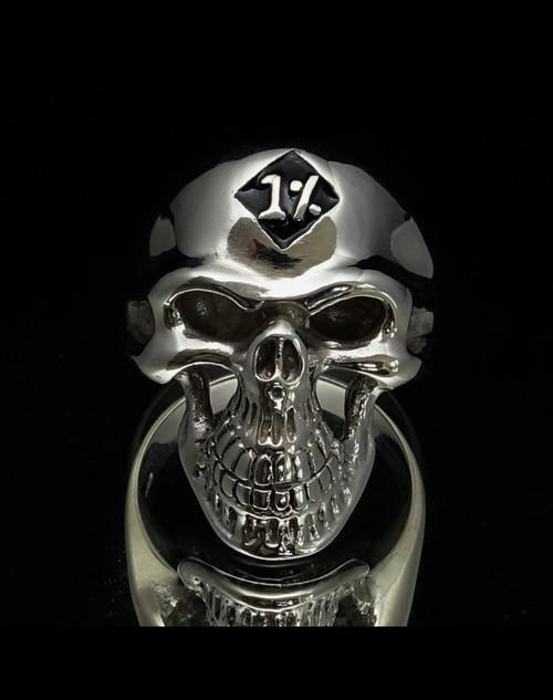 Sterling silver Biker ring One percent on Grinning Skull with black enamel