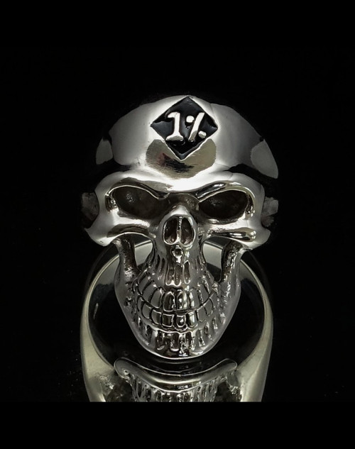 Sterling silver Biker ring One percent on Grinning Skull with black enamel high polished 925 silver
