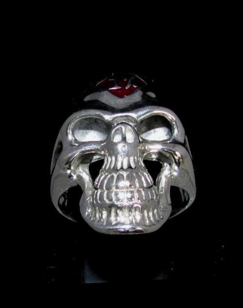 Sterling silver Biker ring one percent on Grinning Skull with Red enamel 925 silver