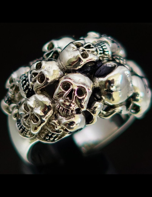 Sterling silver Biker Skull ring Thirteen Skulls massacre antiqued 925 silver
