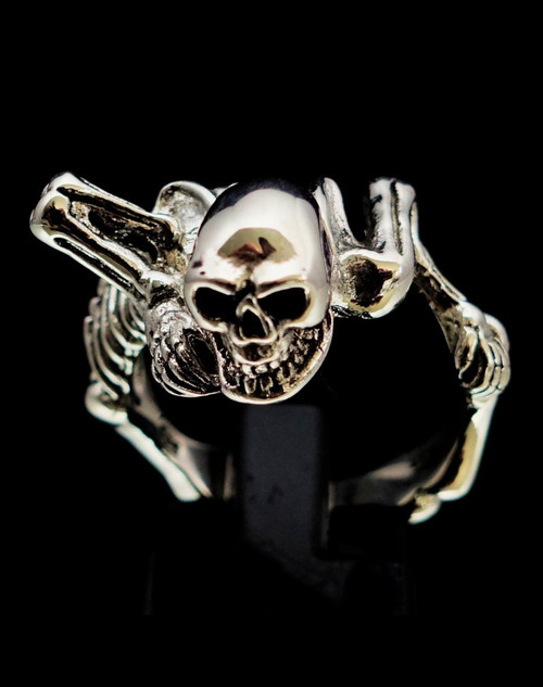 Sterling silver Skull ring Evil Skeleton high polished and antiqued 925 silver