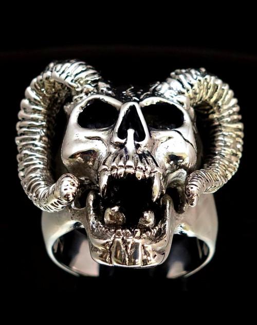 Big Sterling silver men's Biker ring Ram Horned Devil Skull high polished and antique 925 silver