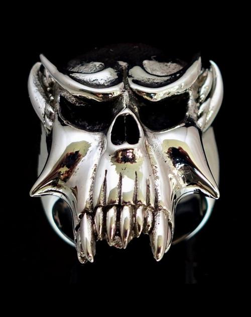 Big Sterling silver men's ring Vampire Skull Nosferatu antiqued 925 silver Biker ring