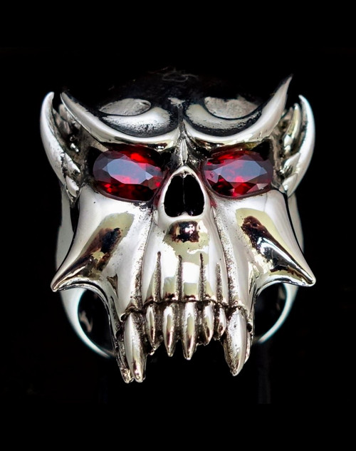 Big Sterling silver men's ring Vampire Skull Nosferatu with 2 Fiery Red CZ Eyes high polished 925 silver