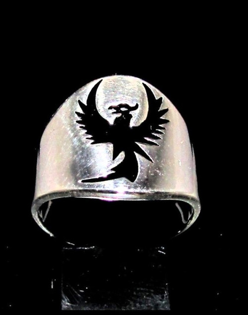 Sterling silver ancient symbol ring Phoenix Rising from the Ashes in Black enamel high polished 925 silver
