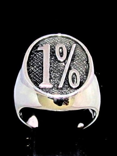 Oval shaped Sterling silver men's Biker ring 1% one percent antiqued 925 silver