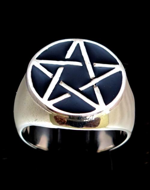 Sterling silver signet ring Pentagram Occult Celtic symbol with Black enamel 925 silver