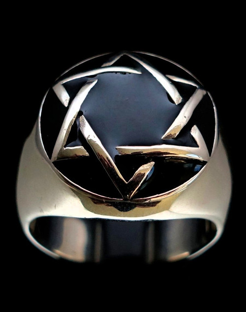 Sterling silver Hebrew symbol ring Hexagram Star of David with Black enamel 925 silver