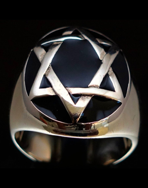 Oval shaped Sterling silver Hebrew symbol ring Hexagram Star of David on dome with Black enamel