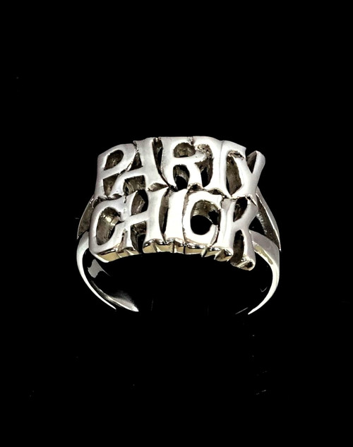 Sterling silver word ring Party Chick Two words Bold letters high polished 925 silver