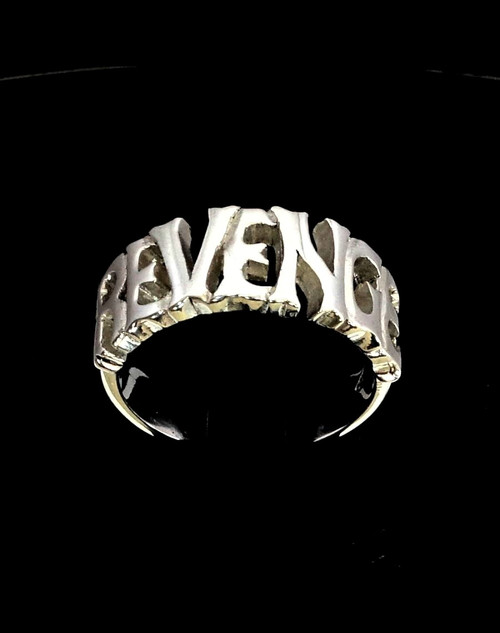 Sterling silver Word ring Revenge 1 word bold letters high polished 925 silver