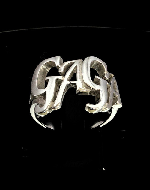 Sterling silver Letter ring GaGa one word bold letters high polished 925 silver women's ring
