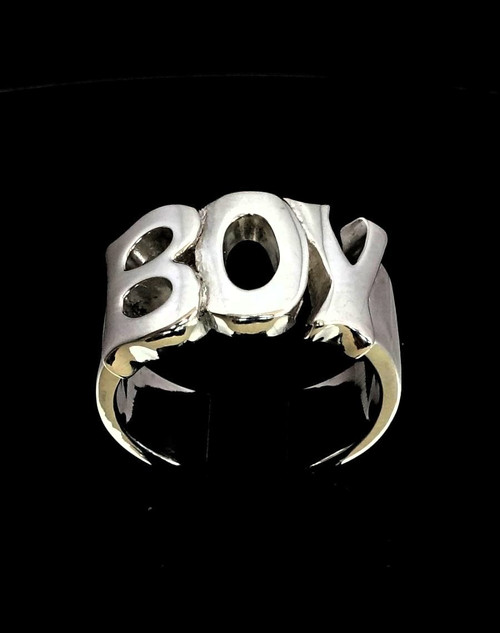 Sterling silver Letter ring Boy One word Bold letters high polished 925 silver unisex ring
