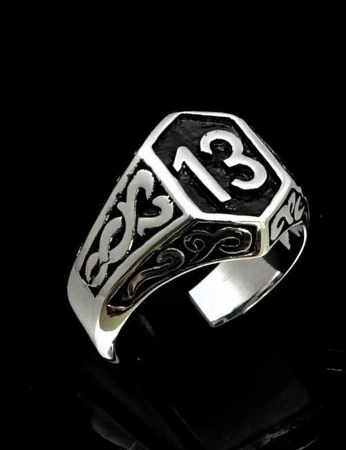 Antiqued Sterling silver men's Biker ring 13 symbol on Celtic design ring high polished 925 silver