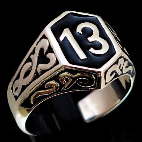 Sterling silver men's Biker ring 13 symbol on Celtic design with Black enamel high polished 925 silver