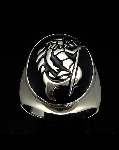 Oval shaped Sterling silver Zodiac ring Aquarius Star sign Neptune with Black enamel 925 silver