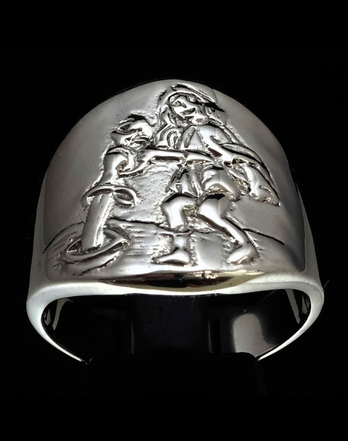 Sterling silver Zodiac ring Aquarius The Water Bearer high polished 925 silver