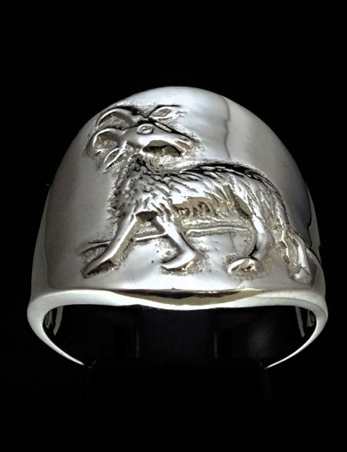 Sterling silver Zodiac ring Aries high polished 925 silver