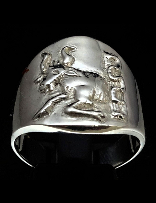 Sterling silver Zodiac ring Taurus The Bull high polished 925 silver