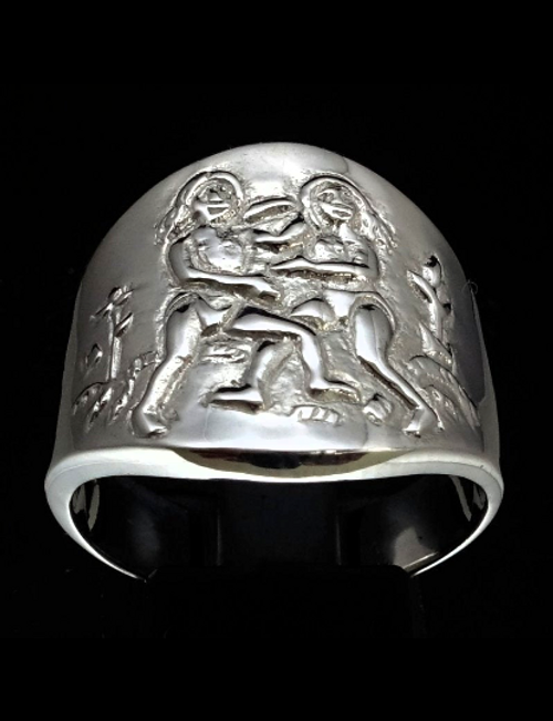 Sterling silver Zodiac ring Gemini The Brainy Twins high polished 925 silver