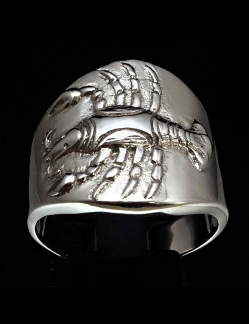 Sterling silver Zodiac ring Cancer The Crab high polished 925 silver