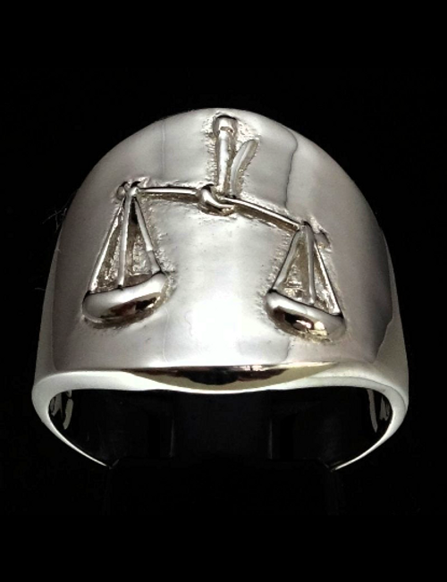 Sterling silver Zodiac ring Libra The Diplomatic Scales Horoscope high polished 925 silver