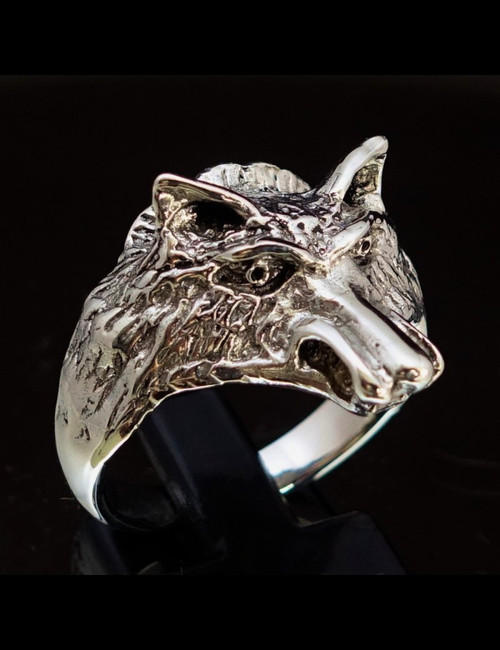 Sterling silver Animal ring small Coyote Lobo Wolf high polished and antiqued 925 silver