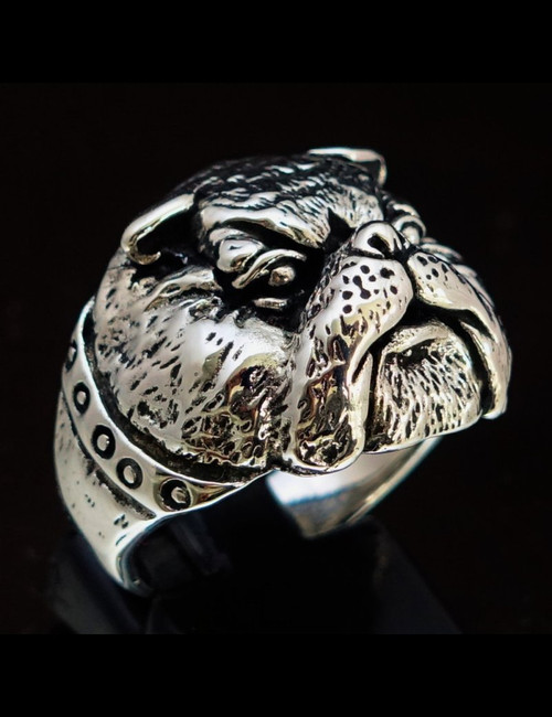Sterling silver men's ring British Bulldog high polished and antiqued 925 silver