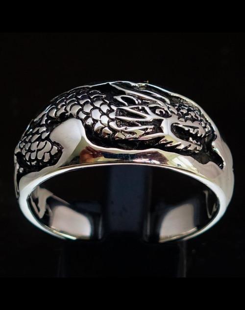 Sterling silver band ring Asian Snake China Naga Dragon 925 silver animal ring