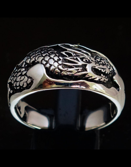 Sterling silver band ring Asian Snake China Naga Dragon 925 silver animal ring