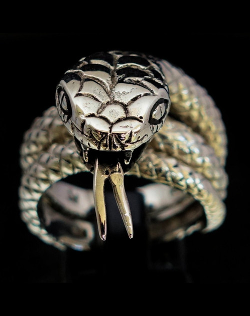 Sterling silver ring Python wrapped Snake high polished and antiqued 925 silver