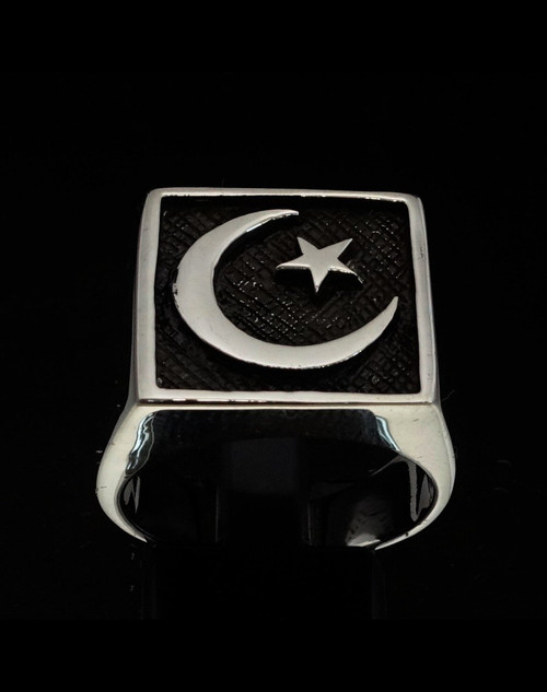Antiqued Sterling silver men's ring Crescent Moon and Star Islam Muslim flag 925 silver